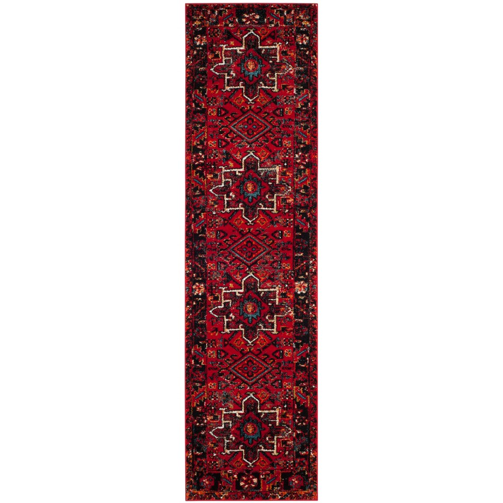 Loomed Tribal Design Runner Rug Red