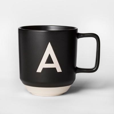 16oz Monogram Stoneware Mug Black/White A - Project 62™