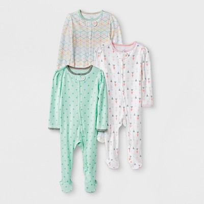 Baby Girls' 3pk Geo Zip Sleep 'N Play - Cloud Island™ Mint/White 0-3M