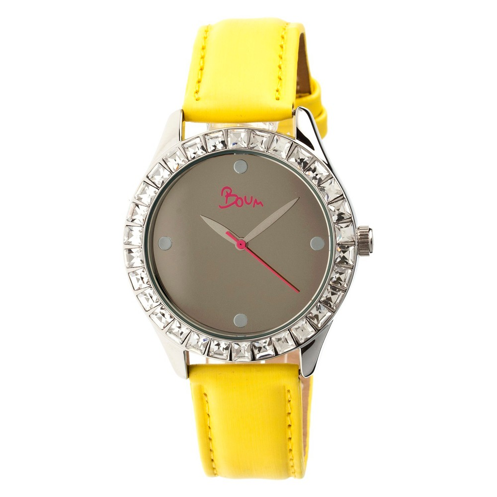Women's Boum Chic Watch with Mirrored Dial and Crystal Surrounded Bezel-Yellow, Yellow