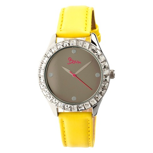 Women's Boum Chic Watch with Mirrored Dial and Crystal Surrounded Bezel-Yellow - image 1 of 3