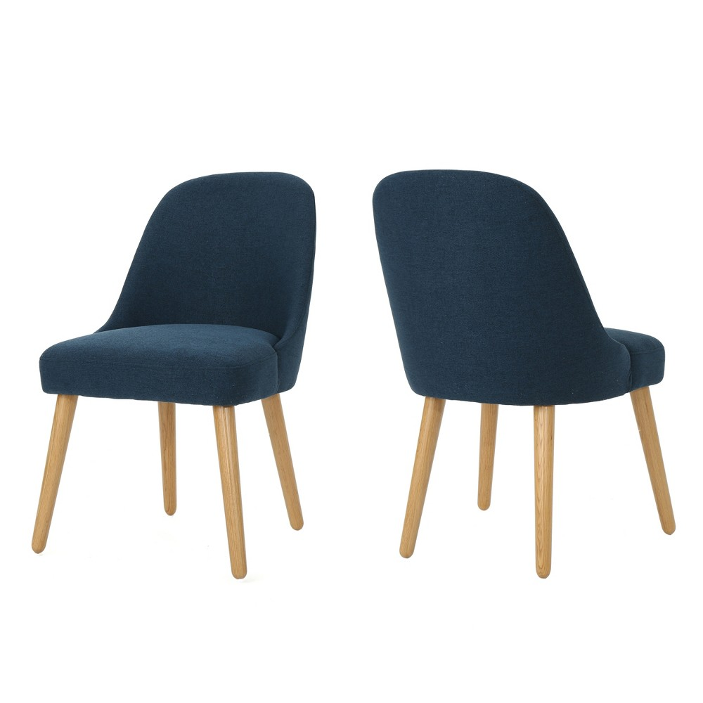 Set of 2 Trestin Mid Century Dining Chair Navy Blue - Christopher Knight Home