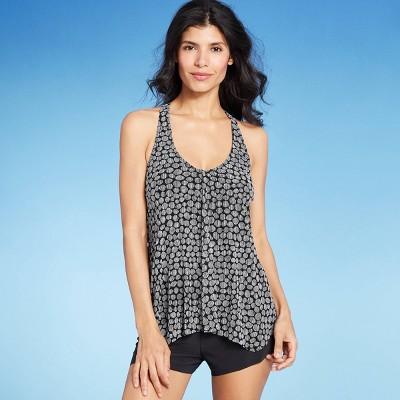 Women's Mesh Overlay Tankini Top - Aqua Green® Black & White