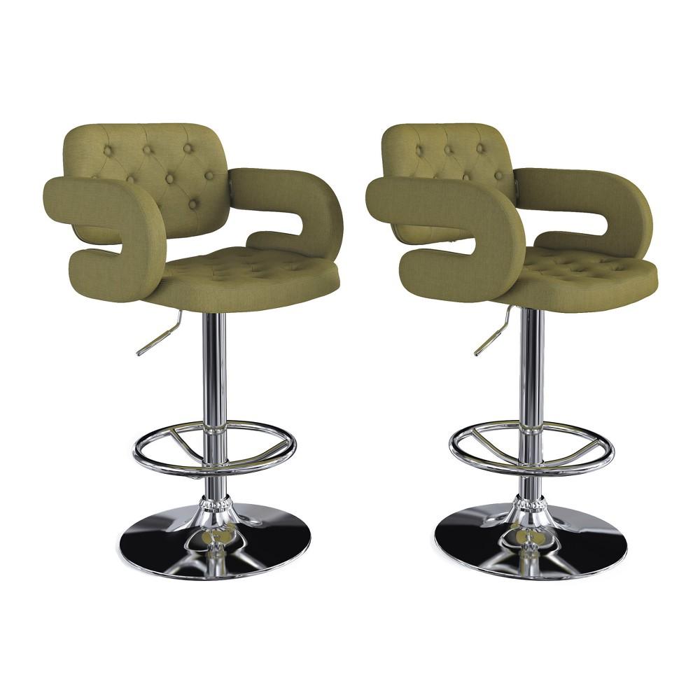 Adjustable Tufted Fabric Barstool with Armrests, Set of 2 Olive Green - CorLiving