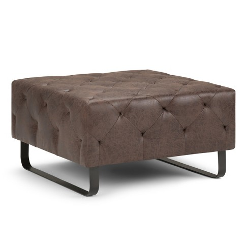 Orla Square Coffee Table Ottoman Distressed Cocoa Brown - Simpli Home - image 1 of 5