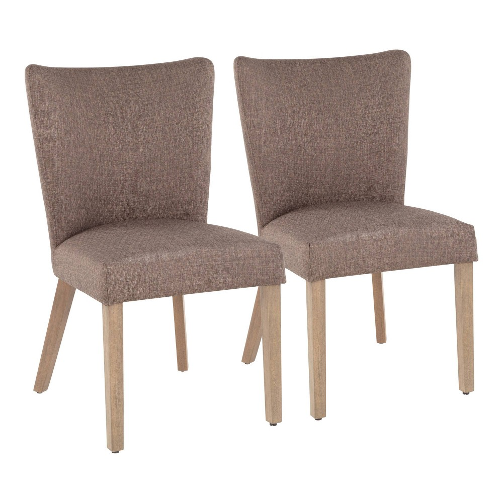 Set of 2 Addison Contemporary Dining Chair Ash Brown/Gray - LumiSource