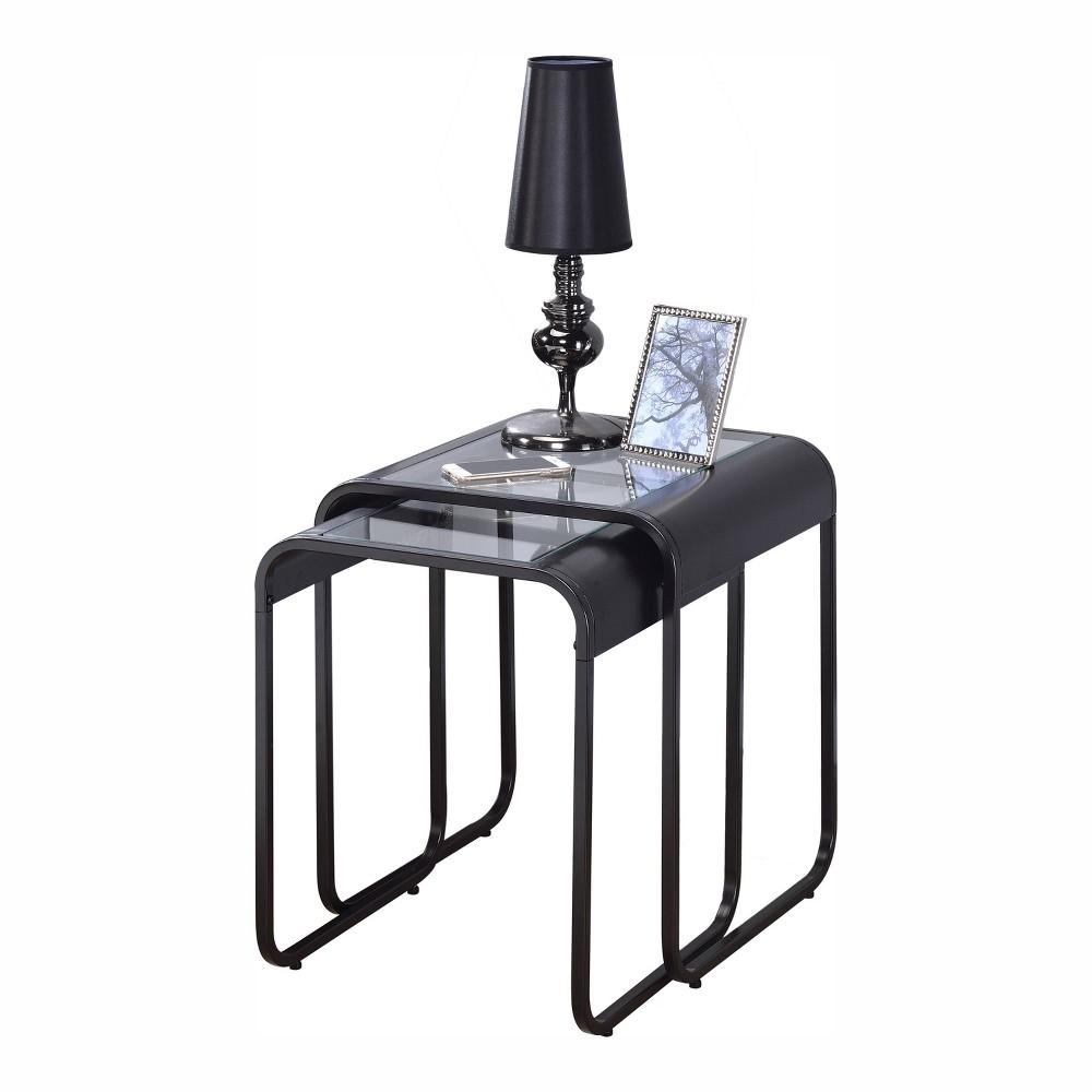 2pc Abramma Metal Nesting Table Set Black - miBasics