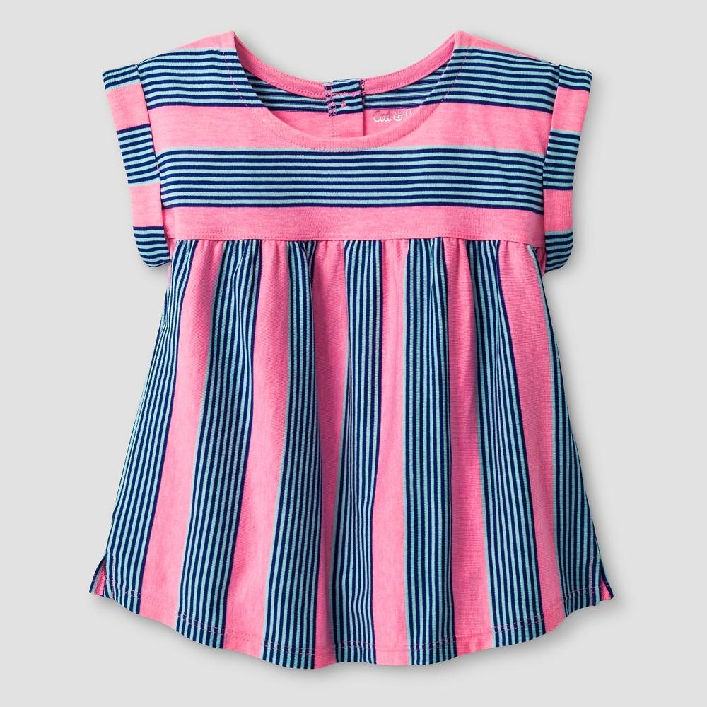 Toddler Girls' Striped Babydoll T-Shirt - Cat & Jack Pink 5T