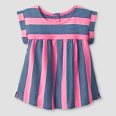 Toddler Girls' Striped Babydoll T-Shirt - Cat & Jack™ Pink 5T - image 1 of 1
