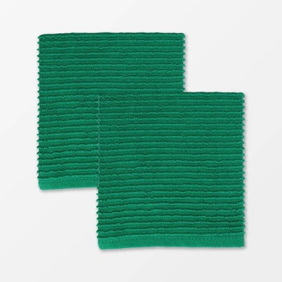 2pk Cotton Ridged Dish Cloths Dark Green - MU Kitchen