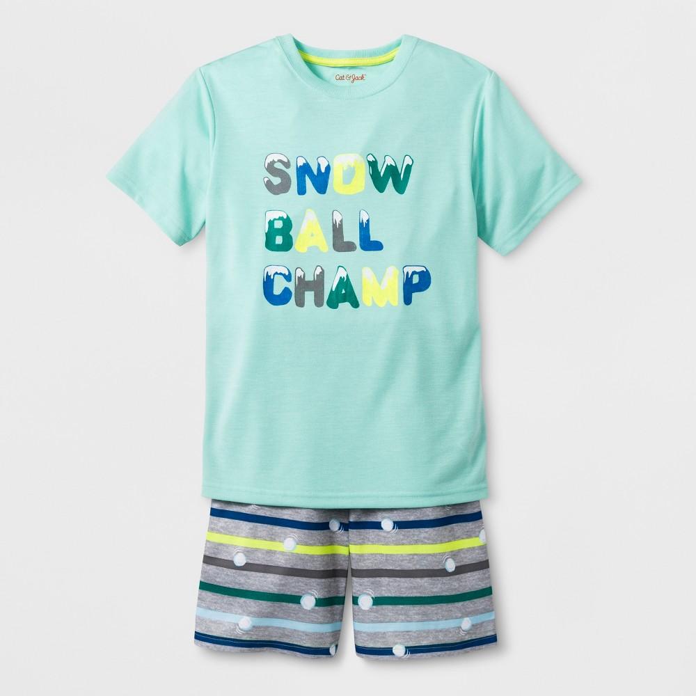 Boys' 2pc Short Sleeve Snow Ball Champ Graphic Pajama Set - Cat & Jack Green L