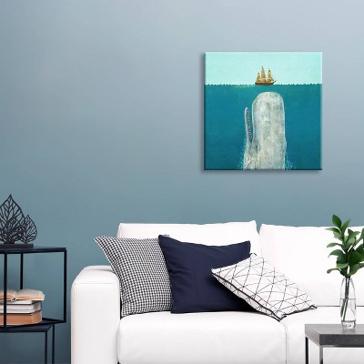 The Whale Square by Terry Fan Unframed Wall Canvas Print Atlantic Blue - iCanvas