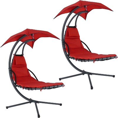 Red Hanging Chaise Lounge Chair with Canopy Umbrella - Set of 2 - Sunnydaze Decor
