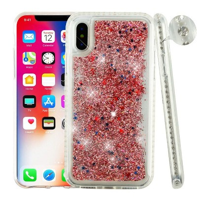 AIRIUM Confetti Quicksand Glitter Bling Sparkle Dual Layer Hybrid Case Cover For Apple iPhone X XS 2017, Rose Gold
