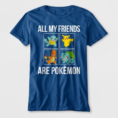 Boys' 'All My Friends Are Pokemon' Short Sleeve Graphic T-Shirt - Blue