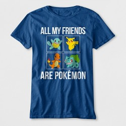 53012dcf Boys' All My Friends Are Pokemon Short Sleeve Graphic T-Shirt - Blue