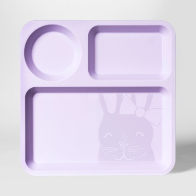 10  Plastic Kids Square Divided Plate Purple - Pillowfort™