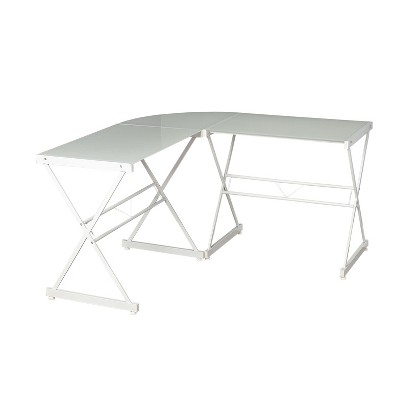 L Shape Tempered Glass Desk Black   Buylateral