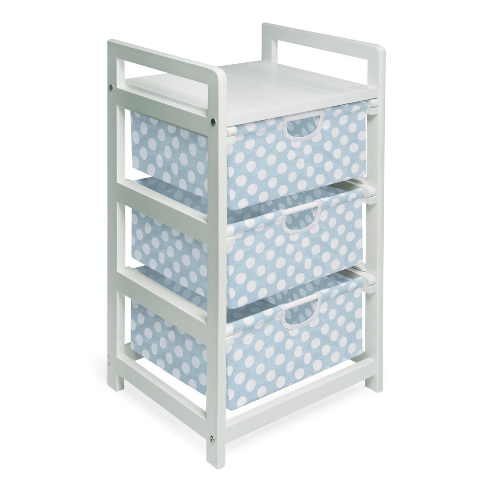 Badger Basket White 3-Drawer Hamper - Blue Polka Dots, Wh...