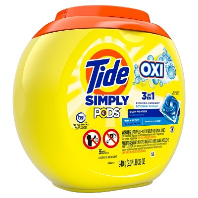 Tide Simply Pods +Oxi Liquid Laundry Detergent Pacs - Refreshing Breeze - 55ct