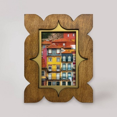 "4"" x 6"" Ancer Wood Frame with Brass Accents Light Brown - Opalhouse™"