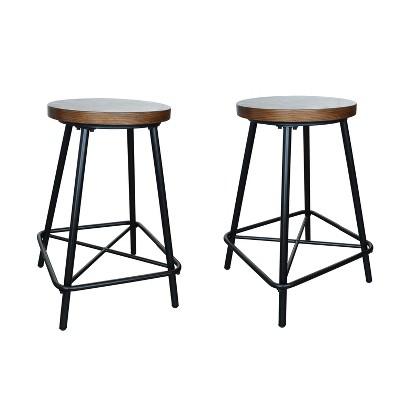 "Set of 2 24"" Inez Counter Height Barstools Black - Carolina Chair & Table"