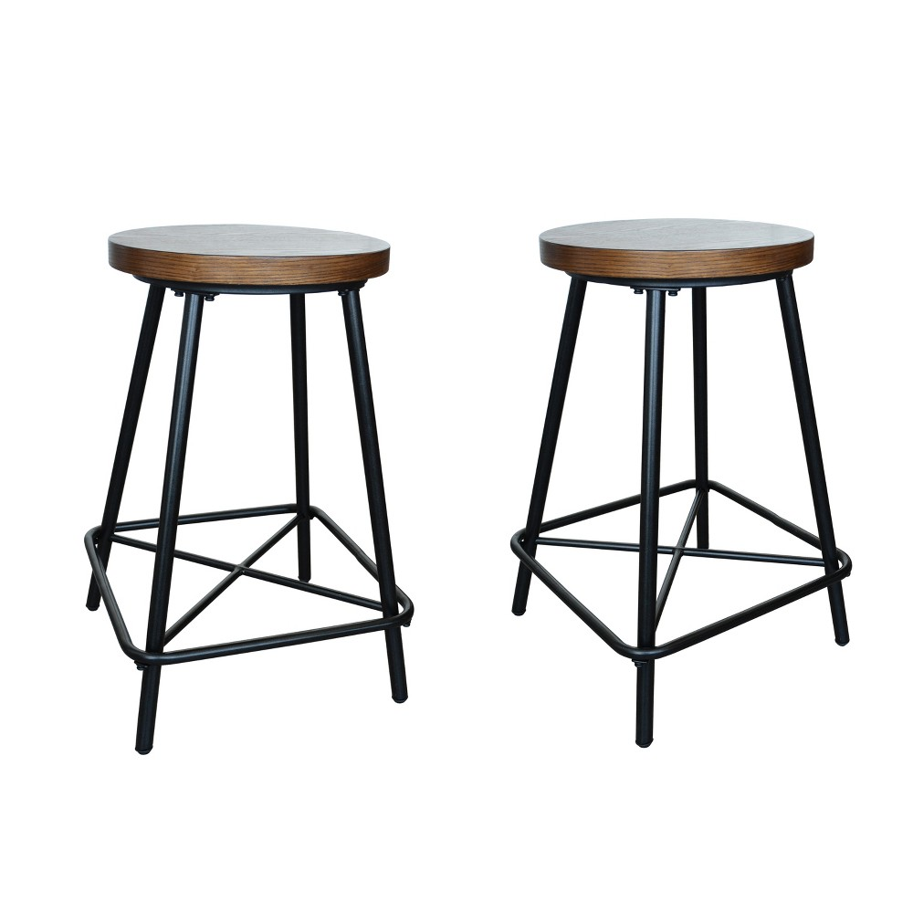"Image of ""24"""" Inez Counter Height Stool Set of 2 Black - Carolina Chair and Table"""