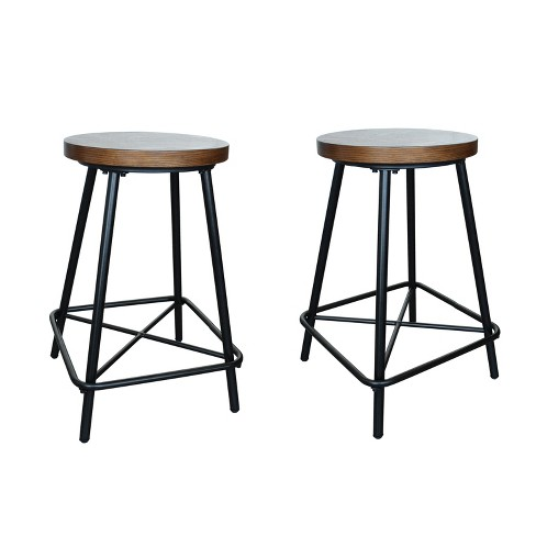 "Set of 2 24"" Inez Counter Height Stool Black - Carolina Chair and Table - image 1 of 3"