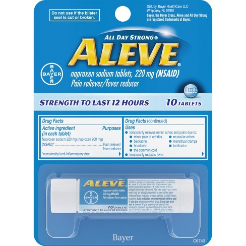 Aleve Pain Reliever & Fever Reducer Tablets - Naproxen Sodium (NSAID) - 10ct - image 1 of 3
