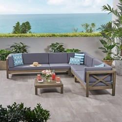 Brava 6pc Acacia Wood Sectional Patio Seating Set - Christopher Knight Home