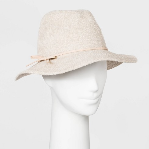 Women's Polyester Fedora Hat - A New Day™ Cream - image 1 of 1