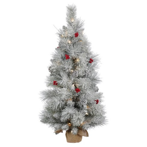 3ft Frosted Mix Berry Pine Artificial Christmas Tree Slim in Burlap Base with Clear Lights - image 1 of 1