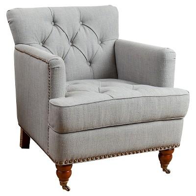 Bon Tafton Linen Club Chair   Green/Gray