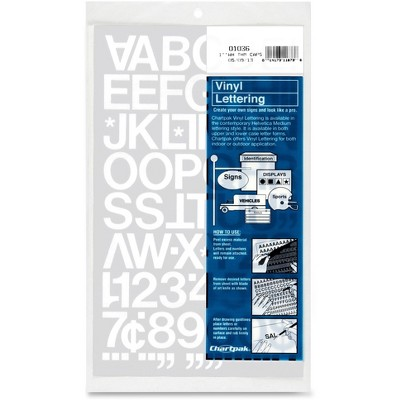 "Chartpak Vinyl Numbers/Cap Letters 1"" White 01036"