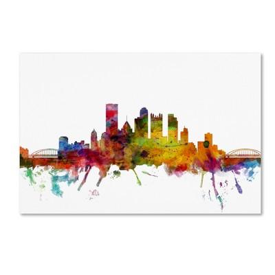 'Pittsburgh Pennsylvania Skyline' by Michael Tompsett Ready to Hang Canvas Wall Art (22 x32 )