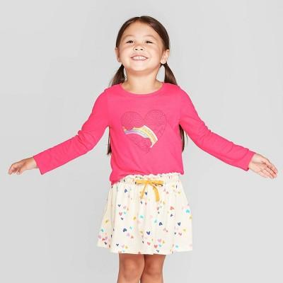 Toddler Girls' Long Sleeve Rainbow Heart Graphic T-Shirt - Cat & Jack™ Dark Pink 2T
