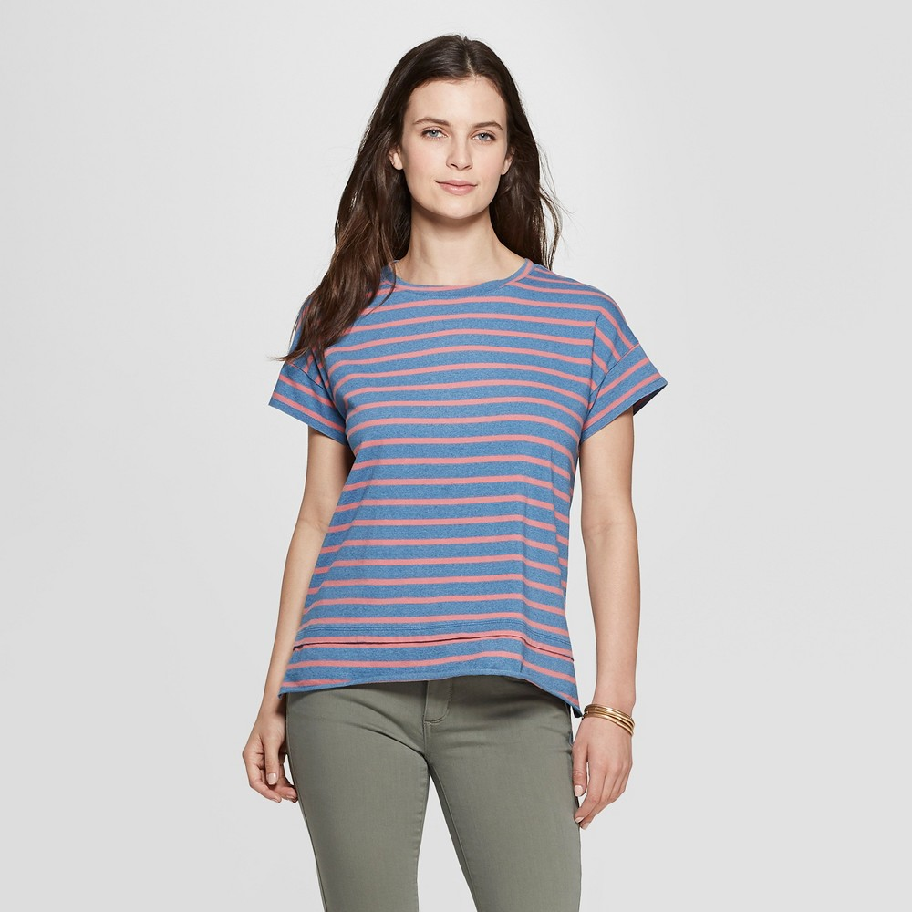 Women's Striped Short Sleeve Crewneck Double Hem Relaxed T-Shirt - Universal Thread Coral S, Pink