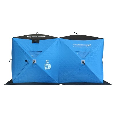 Clam 15497 C-720 2-6 Person Portable 6 x 12 Foot Pop-Up Ice Fishing Angler Double Thermal Hub Shelter Tent with Anchors, Tie Ropes, and Carrying Bag