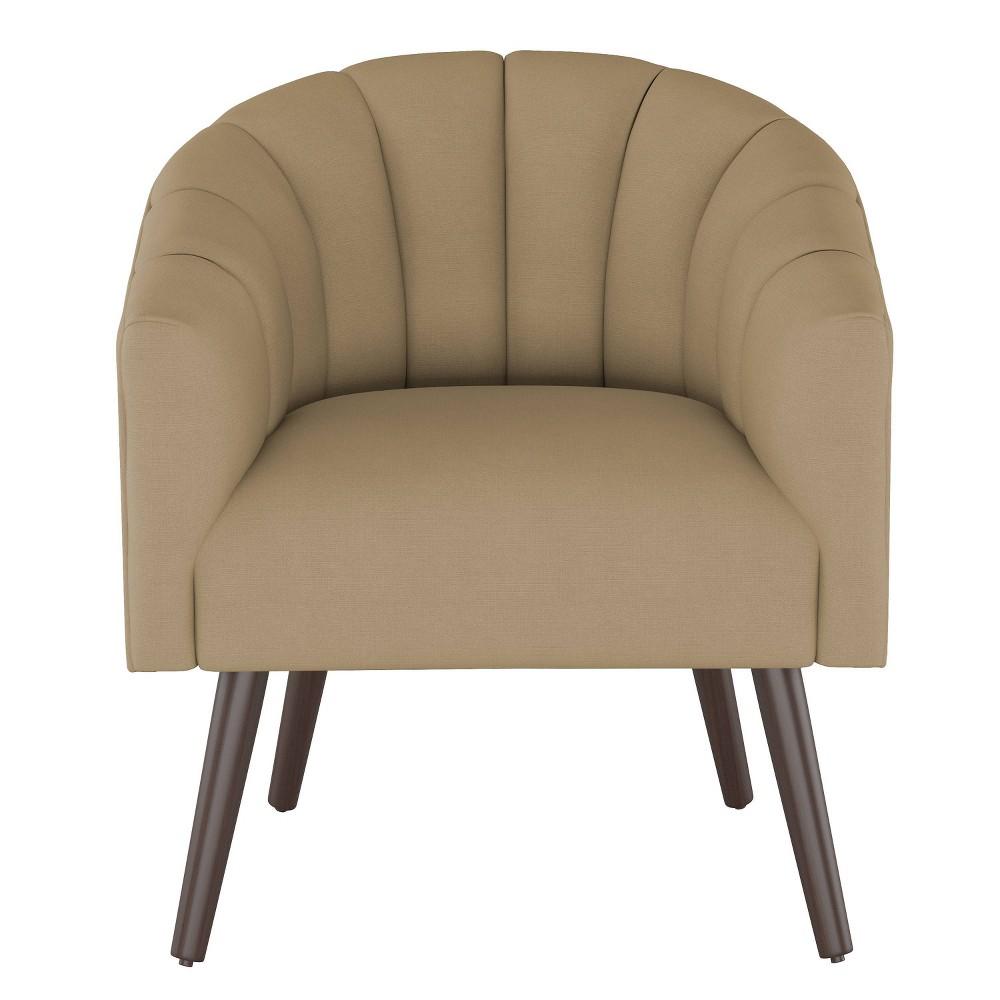 Modern Barrel Chair in Linen Sandstone Brown - Project 62