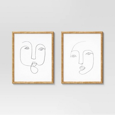 "(Set of 2)16"" x 20"" Line Drawing Faces Framed Wall Art White - Opalhouse™"