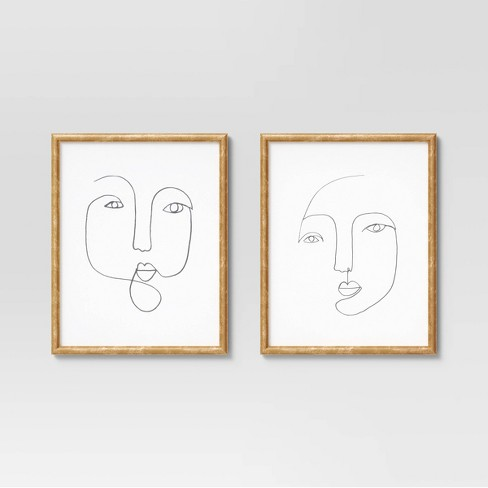 """(Set of 2) 16"""" x 20"""" Line Drawing Faces Framed Wall Art White - Opalhouse™ - image 1 of 4"""