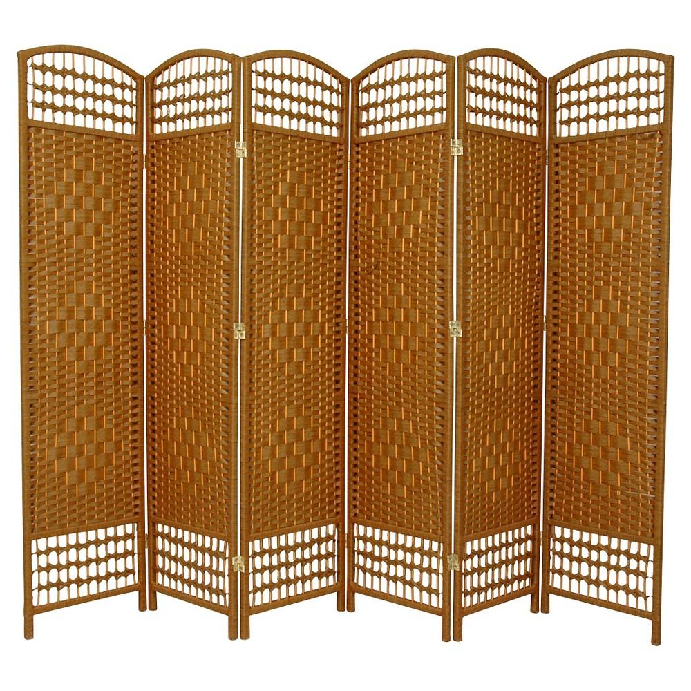 5 1/2 ft. Tall Fiber Weave Room Divider - Light Beige (6 Panel)