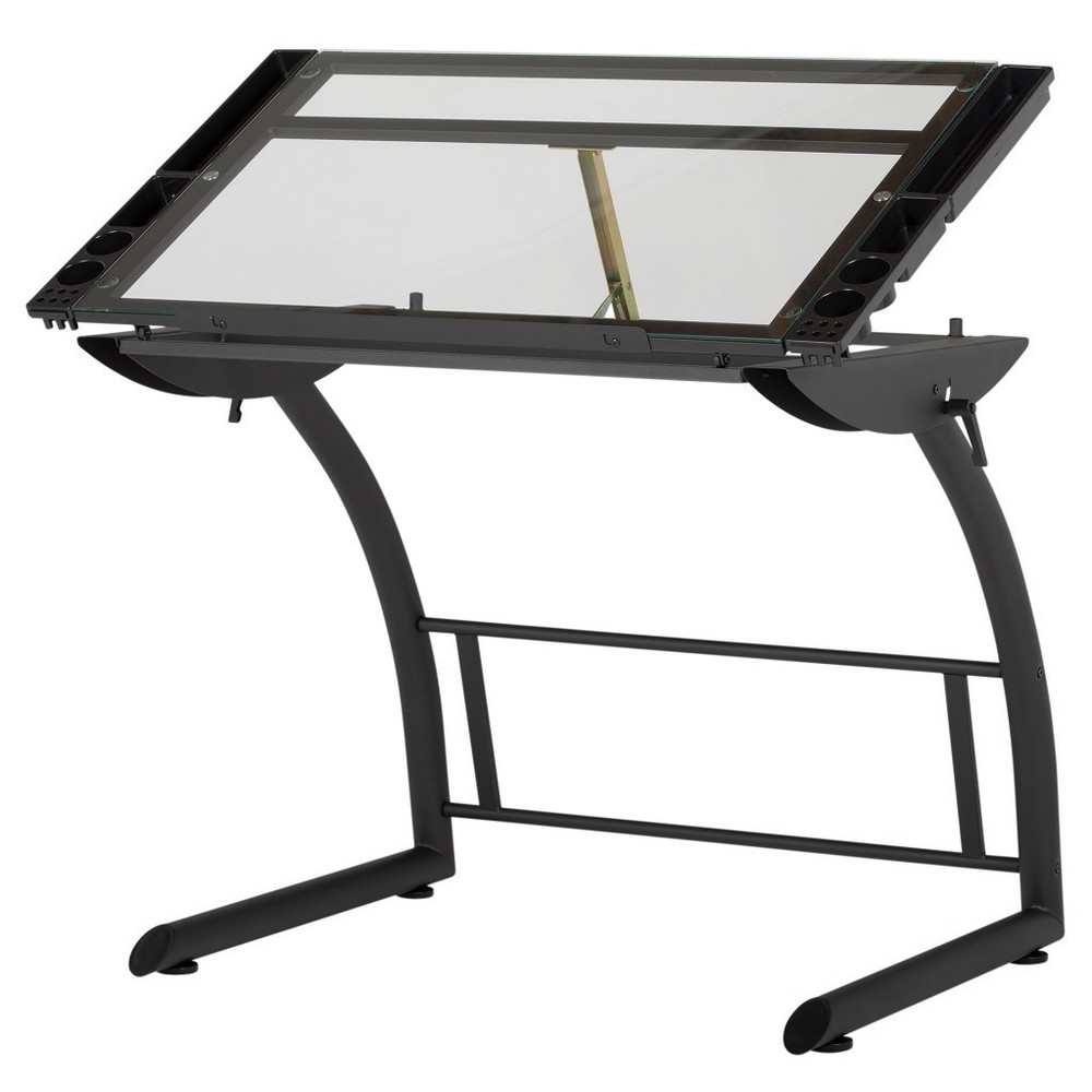 Triflex Drawing Table- Charcoal/ Clear Glass - Studio Designs, Black Velvet