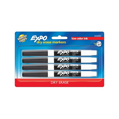 Expo 4pk Dry Erase Marker Fine Tip Black