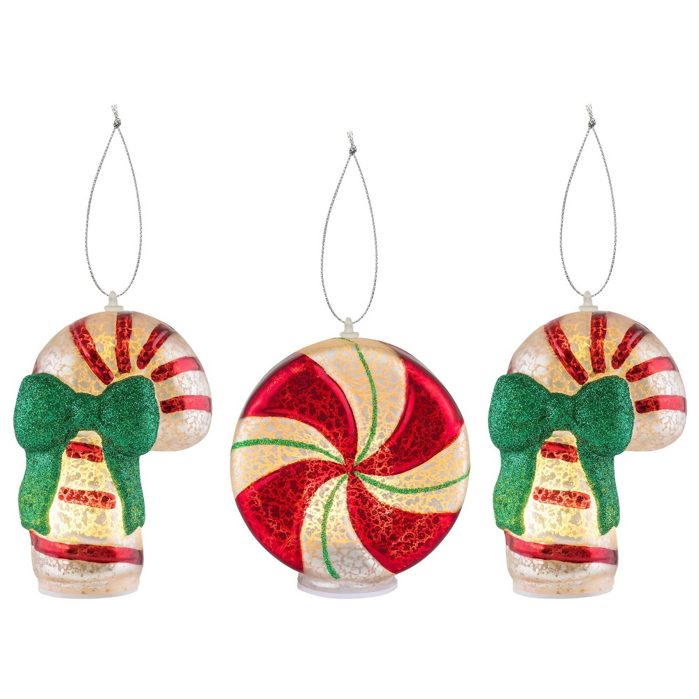 Image of 3pc Mini Mercury Glass Decorative Figurine - Mr. Christmas