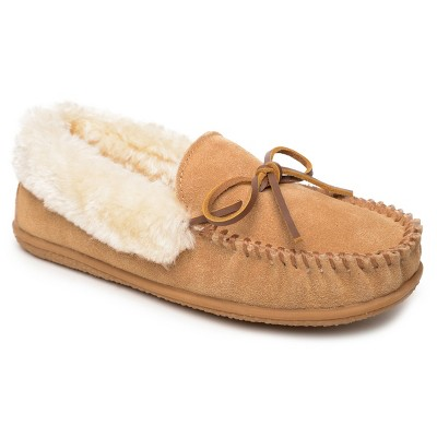 Minnetonka Women's Suede Camp Collar Moc Bootie Slippers