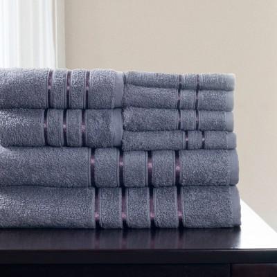 8pc Plush Cotton Bath Towel Set Silver - Yorkshire Home