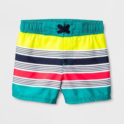 Baby Boys' Multi Stripe Swim Trunks - Cat & Jack™ Turquoise 9M