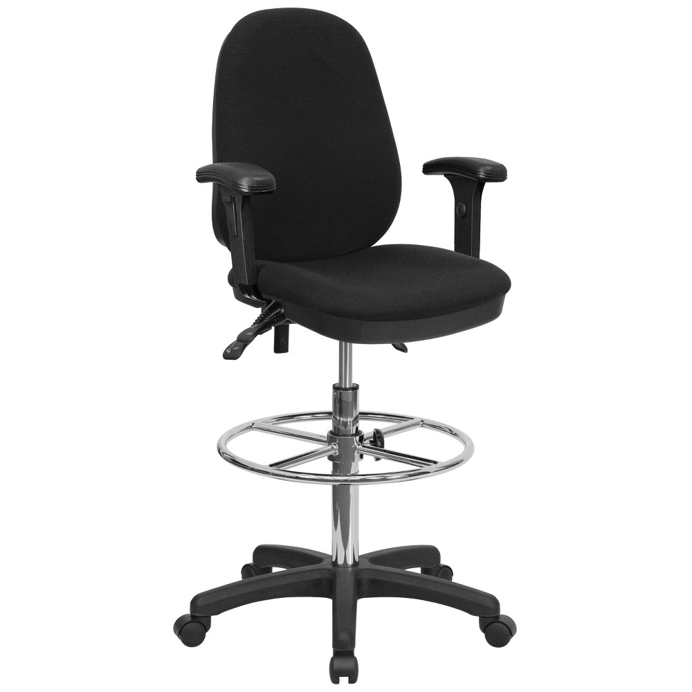 Multi-Functional Ergonomic Drafting Chair Black - Flash Furniture