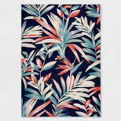 7' x 10' Jungle Tropical Outdoor Rug Navy/Coral - Threshold™
